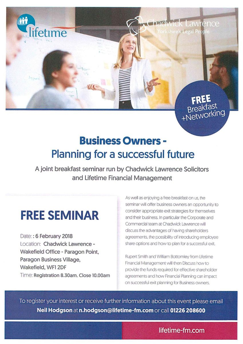 Lifetime Business Seminar Leaflet - Planning for a successful future -  Chadwick Lawrence
