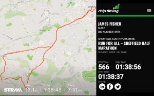 James Fisher's Sheffield Half Marathon 2018 Route and Results (1:38:37)