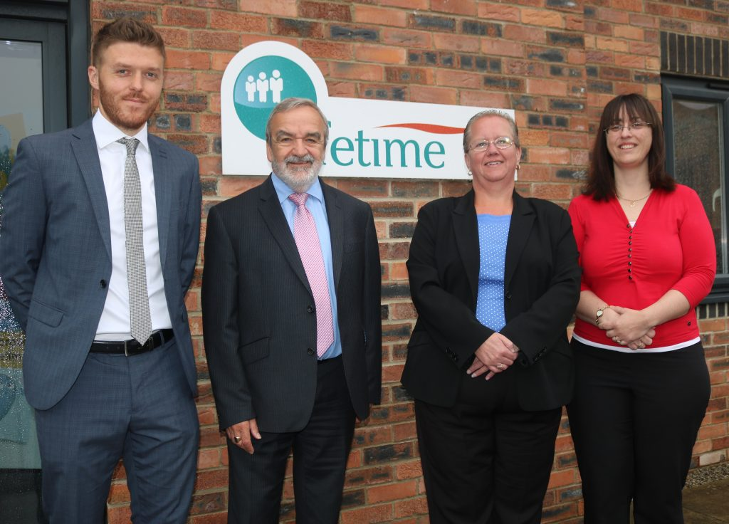 Lifetime Mortgage Team Photo, with Mortgage Advisers Scott and Ken, Mortgage Manager Michelle and Mortgage Administrator Beverley